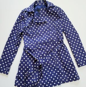 Jessica Simpson Blue & Polka Dot Trench | S